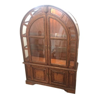 French Provincial Wood & Glass Cabinet