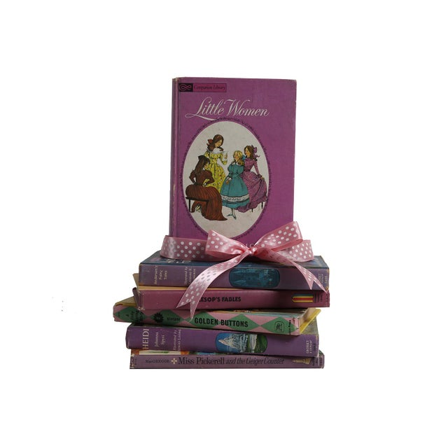 """Midcentury Book Gift Set: """"Lilac"""" Stories For Girls - Set of 6 - Image 2 of 5"""