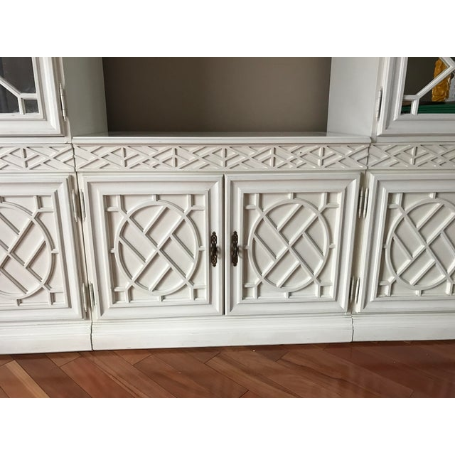 Vintage Chinese Chippendale Chinoiserie 5 Piece Fretwork Mirrored Cabinet - Image 4 of 8
