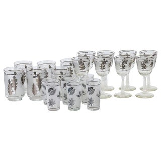Regency Mid-Century Frosted Silver Leaf Barware - Set of 20