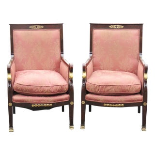 Empire Pink & Brown Bergere Chairs - A Pair