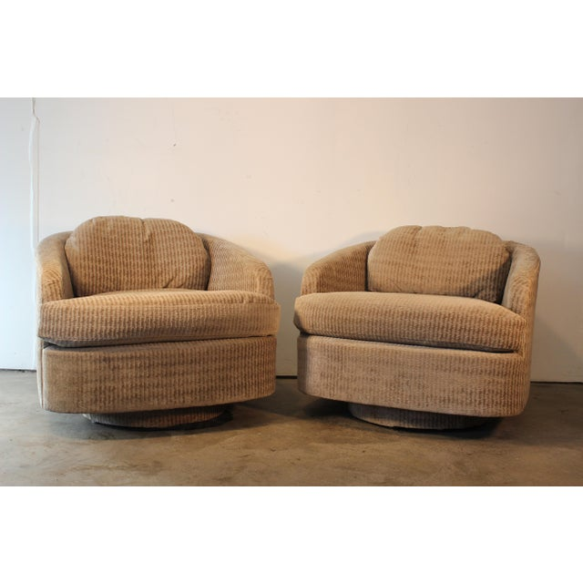 Milo Baughman for Thayer Coggin Swivel Lounge Chairs- A Pair - Image 2 of 11