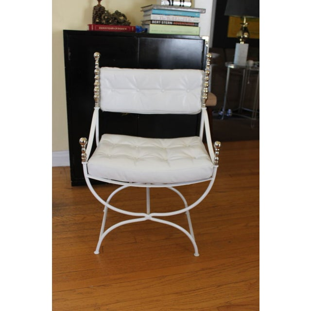 White Leather Replated Throne Chair Chairish