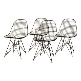 Black Original Eames Wire Chairs - Set of 4