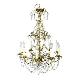 French Crystal Beaded Curls Chandelier