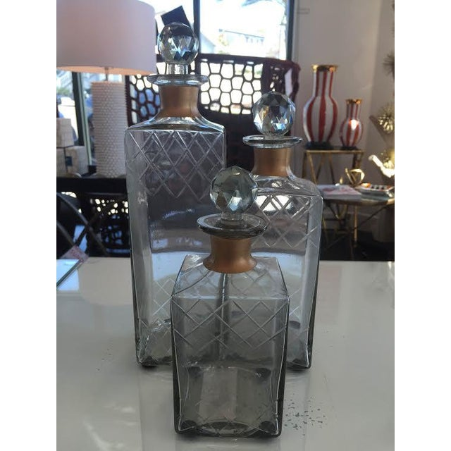 Image of Etched Glass Decorative Decanters - Set of 2