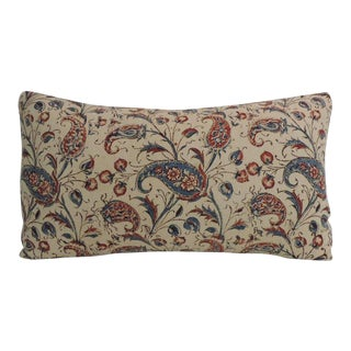 19th Century Indian Floral Hand-Blocked Bolster Decorative Pillow
