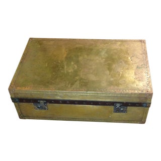 Vintage Bond St. Of London Distressed Brass and Leather Chest or Trunk