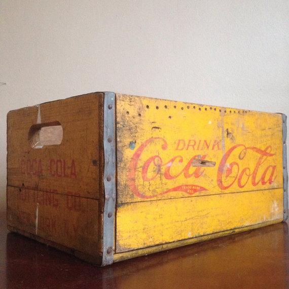 Image of Vintage Yellow Wooden Coca Cola Crate