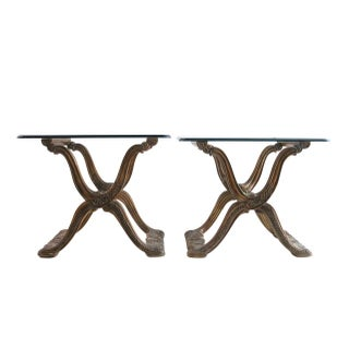Hollywood Regency X-Base Side Tables - A Pair