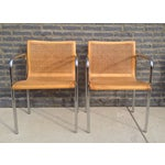 Image of Italian MCM Curved Cane & Chrome Chairs - A Pair