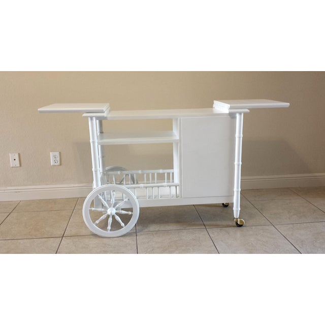 Hollywood Regency Faux Bamboo Bar Cart - Image 8 of 11
