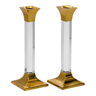 Pair of Vintage Brass and Lucite Column Candleholders