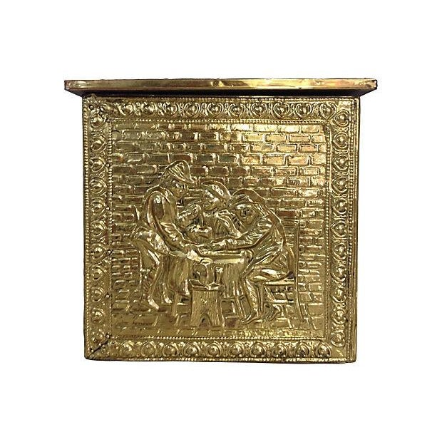 Vintage English Gilded Brass Fireplace Wood Box - Image 5 of 6
