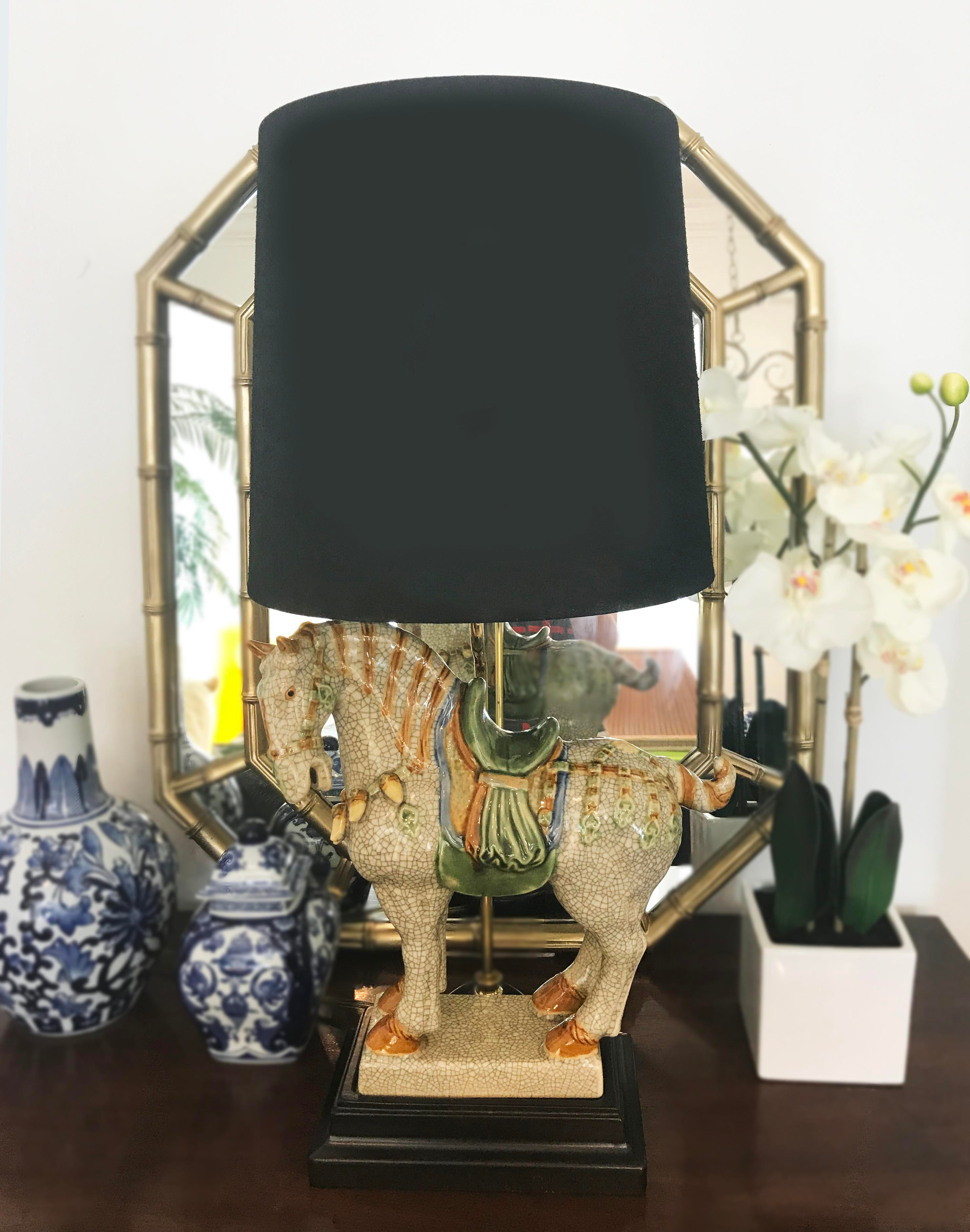 Chinoiserie Asian Style Ceramic War Horse Table L& - Image 3 of 6  sc 1 st  Chairish & Chinoiserie Asian Style Ceramic War Horse Table Lamp | Chairish azcodes.com