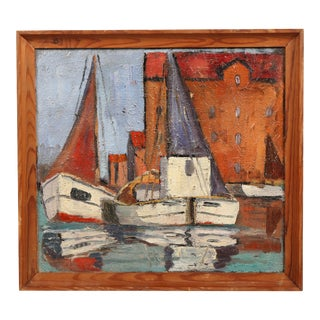 Danish Oil Painting 'Sails up in Copenhagen Harbor'