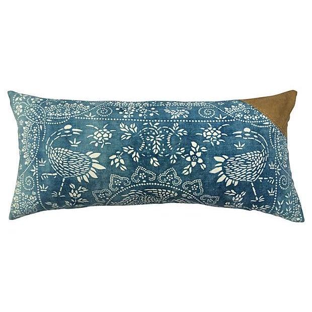 Antique Indigo Crane Batik Body Pillow - Image 1 of 6