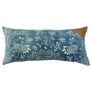 Antique Indigo Crane Batik Body Pillow