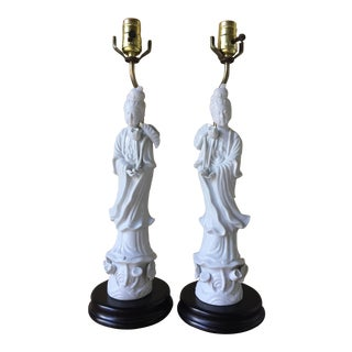Kwan Yin Table Lamps - A Pair