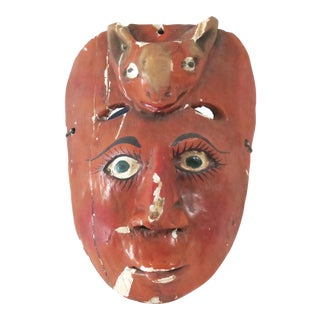 Red Wood Carved Mask
