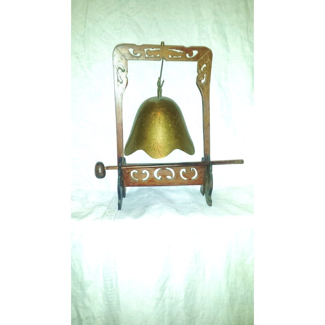 Antique Buddhist Brass & Wood Table Gong Bell - Image 2 of 6