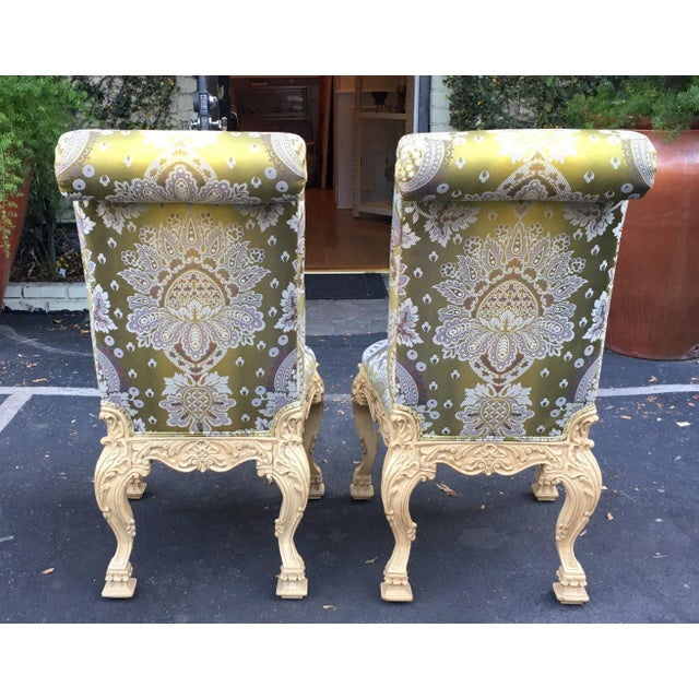 Carved Italian Side Chairs With Venetian Style Green Silk Lampas - Image 3 of 5