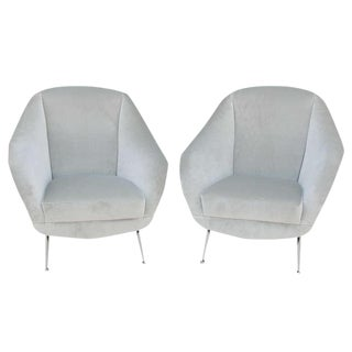 Vintage Italian Pair of Open Arm Chairs