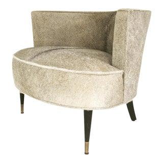 Forsyth Vintage Barrel Chair Reupholstered in Brazilian Cowhide