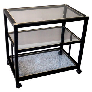 Pierre Vandel Style Black & Gold Trimmed Bar Cart