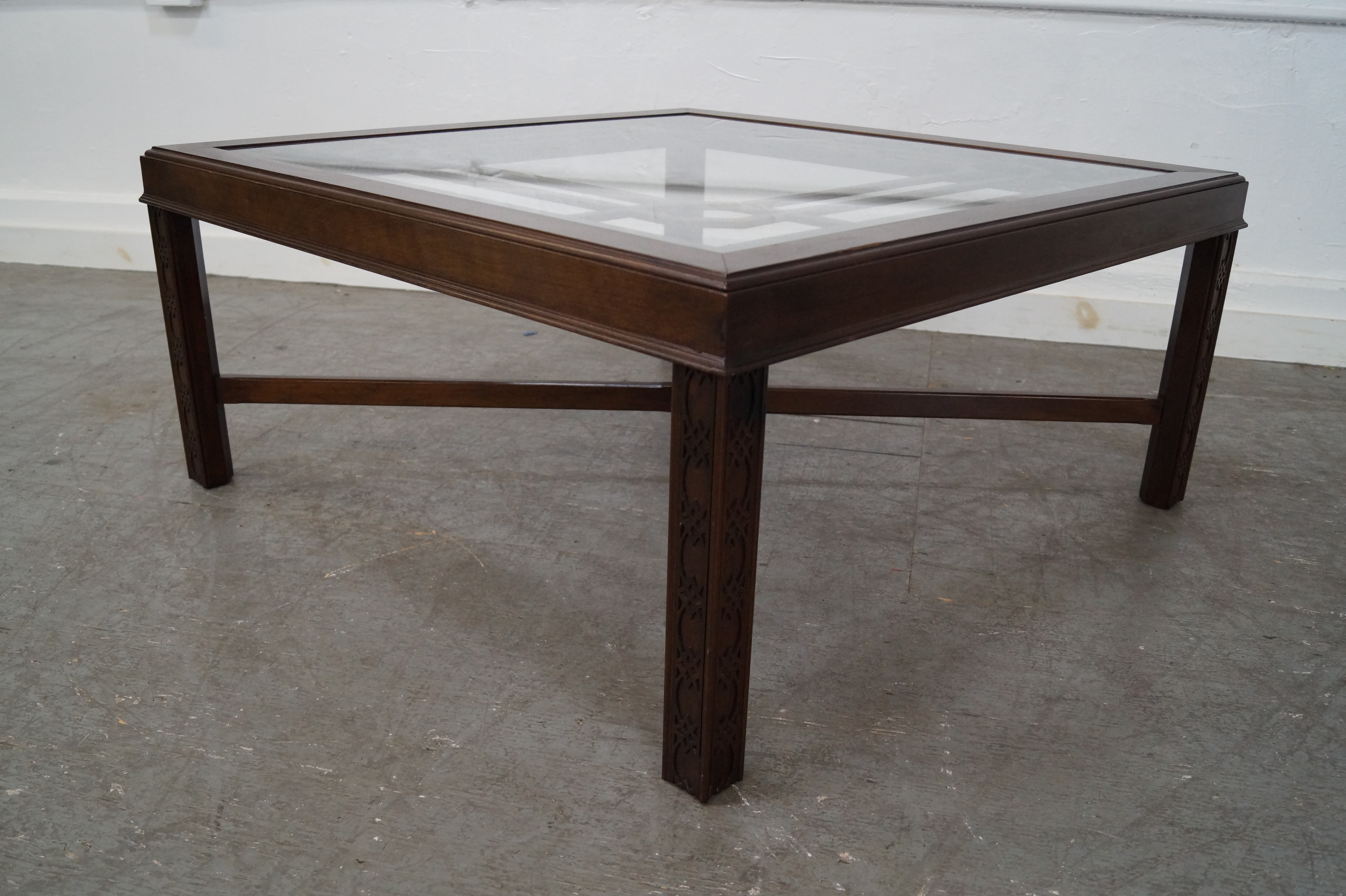 Chippendale Style Cherry Glass Top Coffee Table   Image 2 Of 10