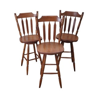 Maple Colonial Style Swivel Bar Stools - Set of 3
