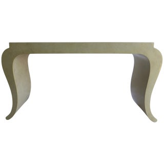 1980s Faux Stone Serpentine Console Table