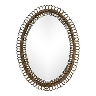 French Mid-Century Rattan Mirror
