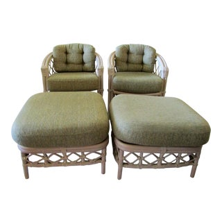 Ficks Reed Trellis Rattan Chairs & Ottomans- A Pair