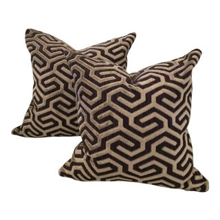 Cowtan & Tout Moka Brown Geometric Velvet Pillows - A Pair