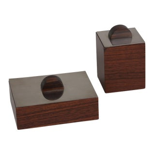 Set of Two Rosewood and Nickel Lidded Boxes, 1930s