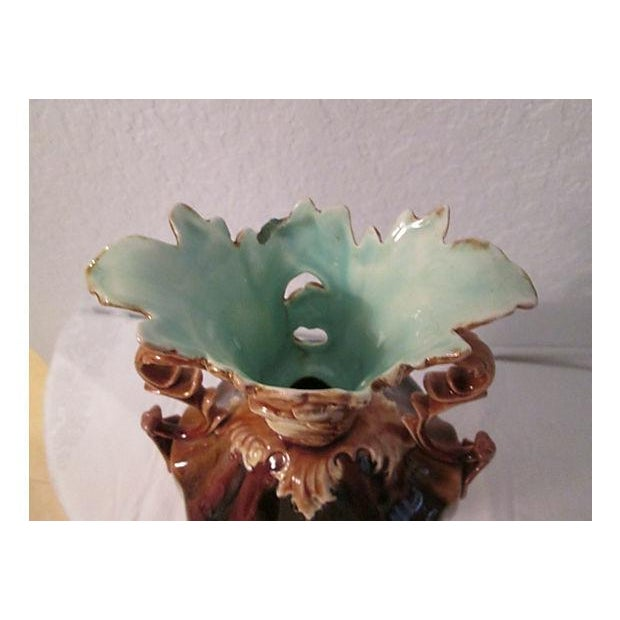 Image of 1920s Ornate Brown & Aqua Vase