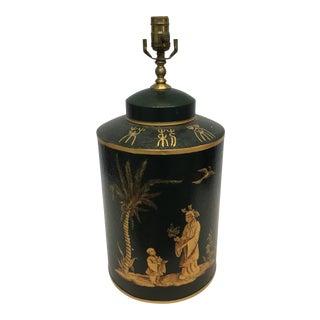 Vintage English Tea Caddy Lamp W/ Oriental Figures