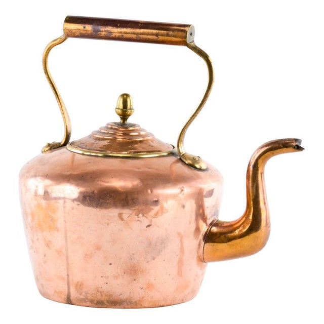 Antique Copper Teakettle with Brass Acorn Finial - Image 1 of 3