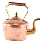 Image of Antique Copper Teakettle with Brass Acorn Finial