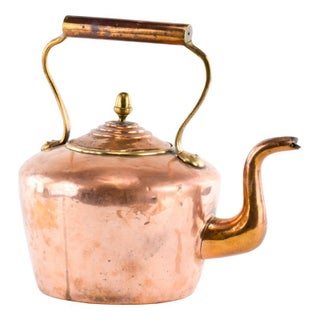 Antique Copper Teakettle with Brass Acorn Finial