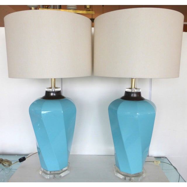 Bauer Lucite, Ceramic & Brass Table Lamps - Pair - Image 2 of 7