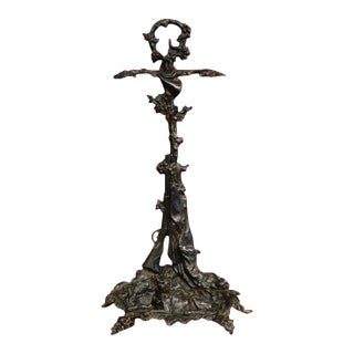 19th Century French Napoleon III Black Iron Umbrella Stand With Hunt Motifs