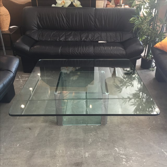 Modern Glass & Chrome Coffee Table - Image 2 of 9