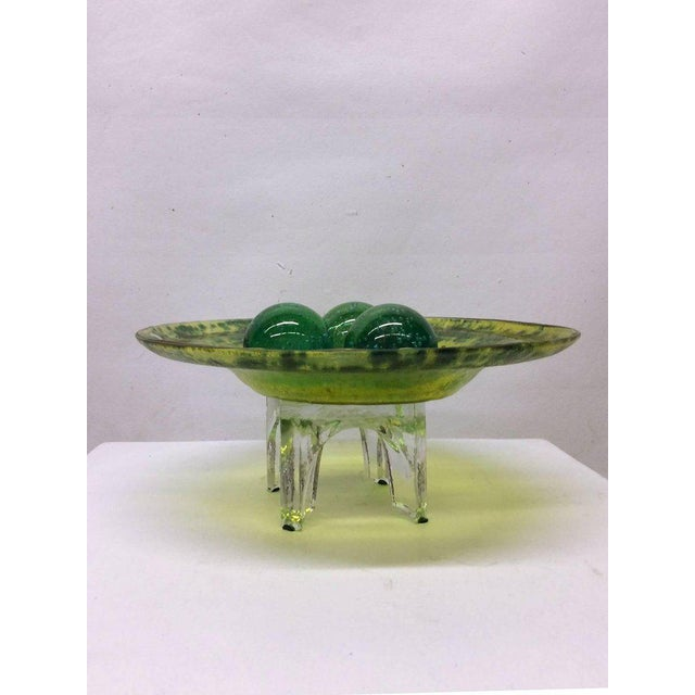 Green Murano Glass Decorative Bowl with Balls on Stand - Image 2 of 5