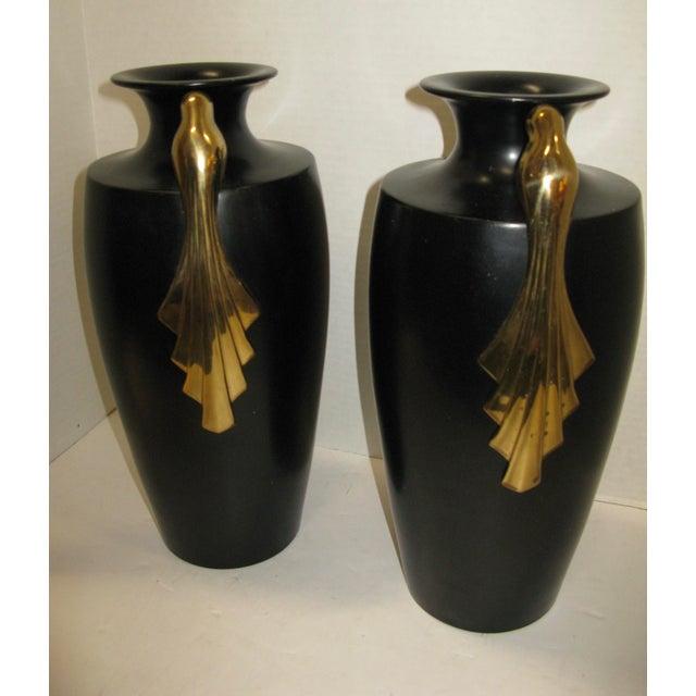Image of Black & Brass Art Deco Metal Vases - A Pair