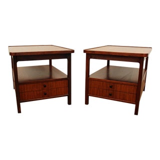 Mid-Century Danish Modern Walnut End/Side Tables - a Pair
