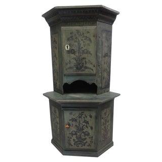 Swedish Original Painted Corner Cabinet