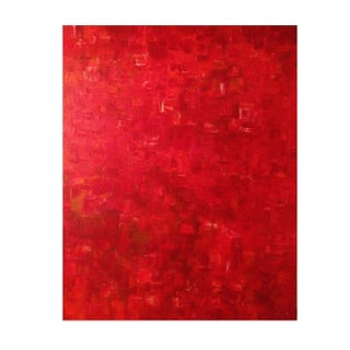 Red Abstract Acrylic Painting On Canvas