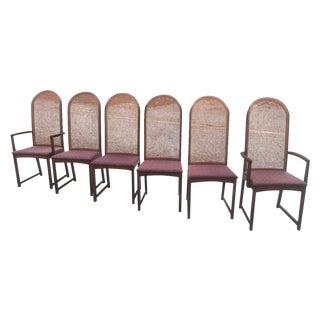 Milo Baughman Caned Walnut Chairs - Set of 6